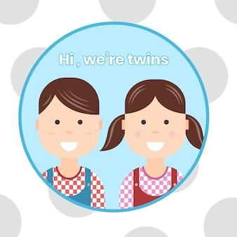 78. ícones de desenho animado de bebê gêmeo fofinho