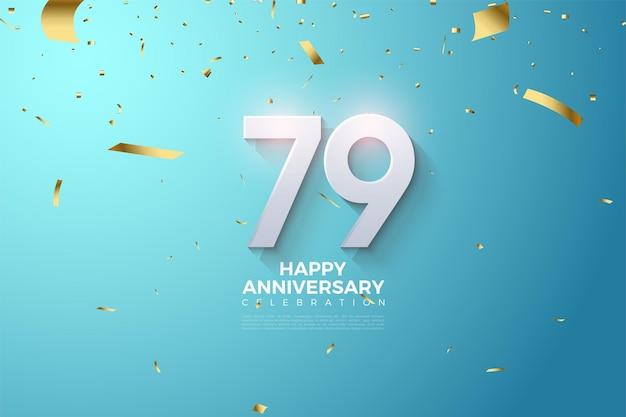 79º aniversário com números 3d sombreados