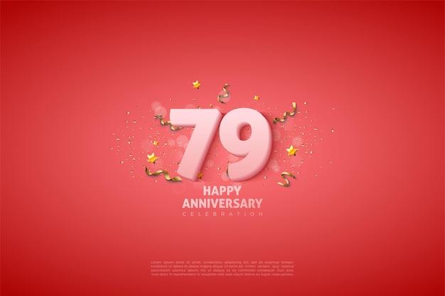 79º aniversário com números brancos suaves