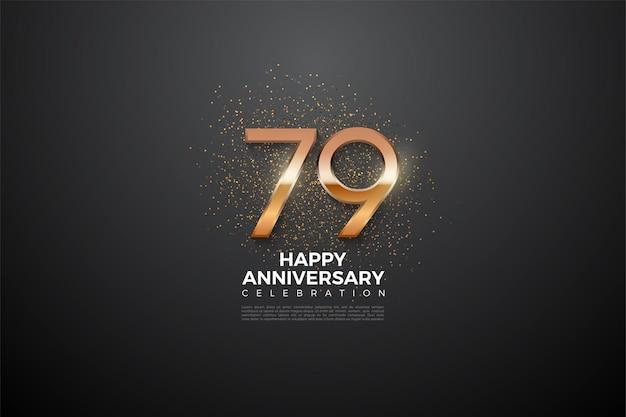 79º aniversário com números brilhantes