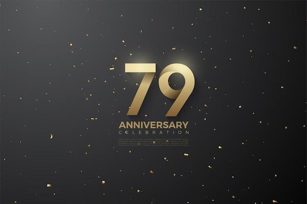 79º aniversário com números com padrões suaves