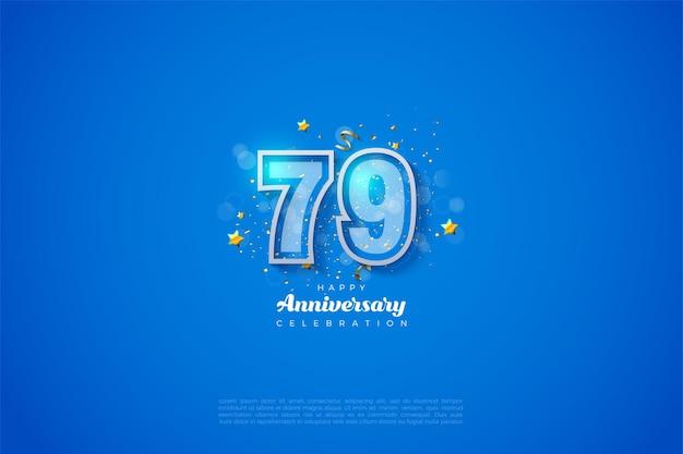 79º aniversário com números de borda dupla