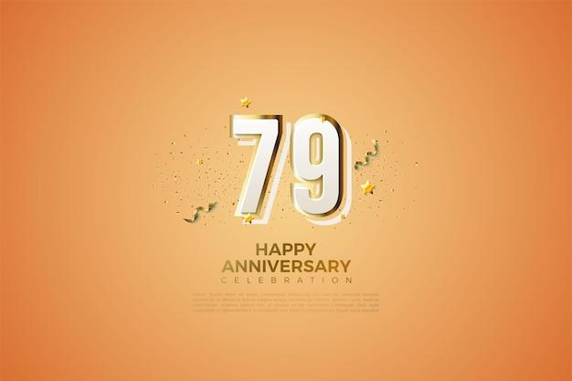 79º aniversário com números de design moderno