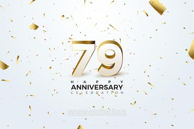 79º aniversário com números dourados e papel espalhados