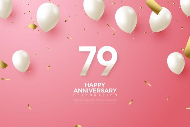 79º aniversário com números e balões
