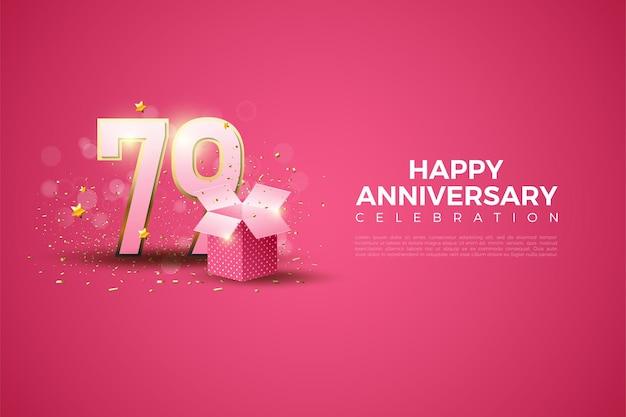 79º aniversário com números e caixa de presente