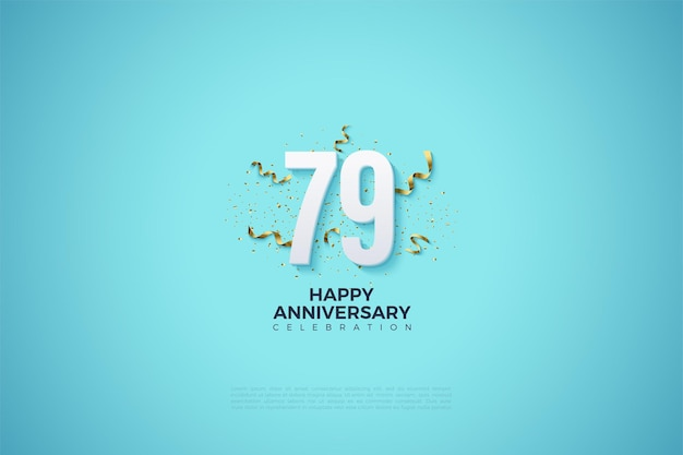 79º aniversário com números e festividades de fita