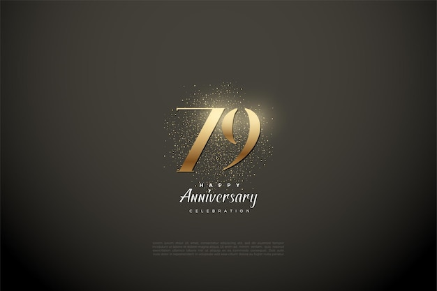 79º aniversário com números e pontos dourados