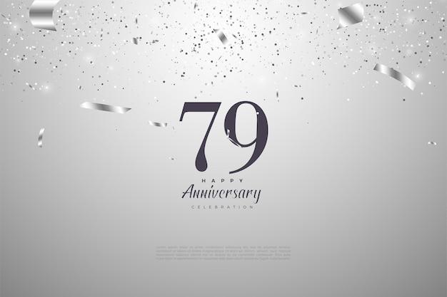 79º aniversário com números em fundo prateado