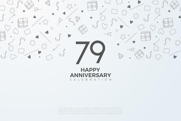 79º aniversário com números em preto e branco