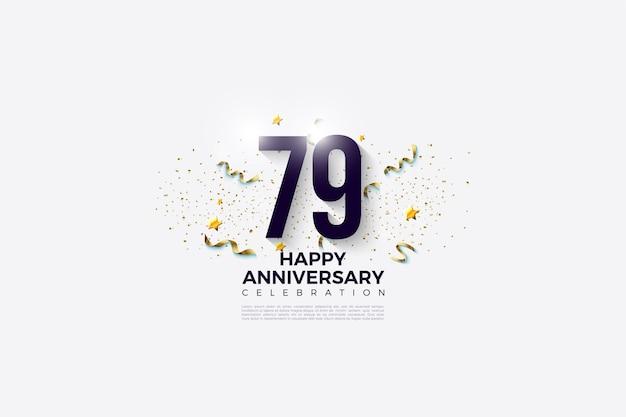 79º aniversário com números em um fundo branco brilhante