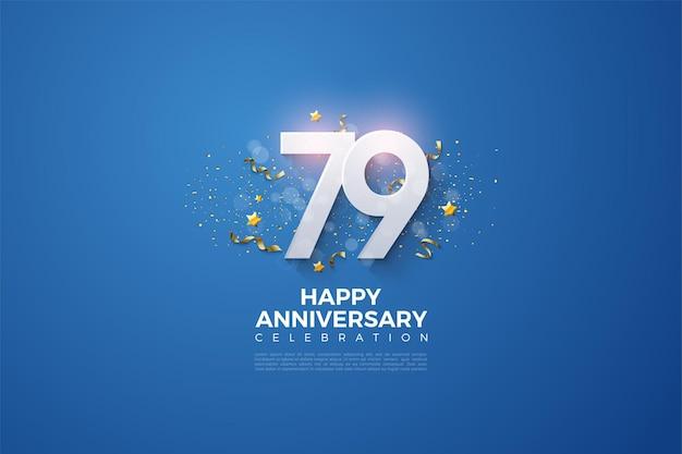 79º aniversário com números empilhados no fundo