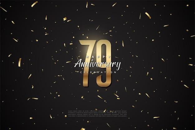 79º aniversário com números planos dourados