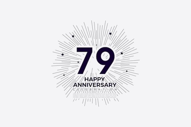 79º aniversário com números pretos em papel branco