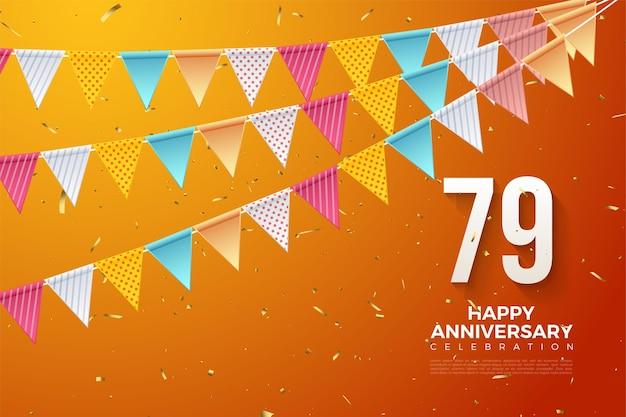 79º aniversário com números sob bandeiras coloridas