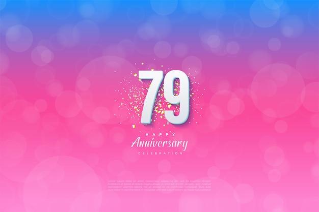 79º aniversário em um fundo gradiente azul
