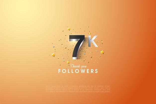 7k seguidor de fundo com ilustração de números em relevo em prata.
