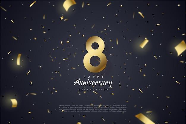 8º aniversário com folha de ouro e ilustração de números espalhada sobre fundo preto.