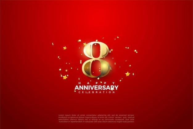 8º aniversário com ilustração 3d do número ouro.