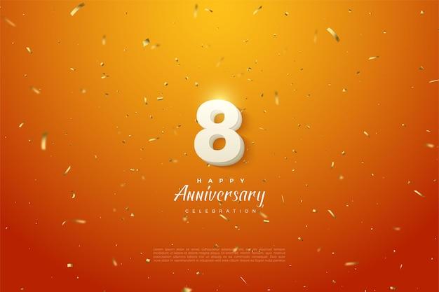 8º aniversário com ilustração de números em fundo laranja salpicado de ouro.