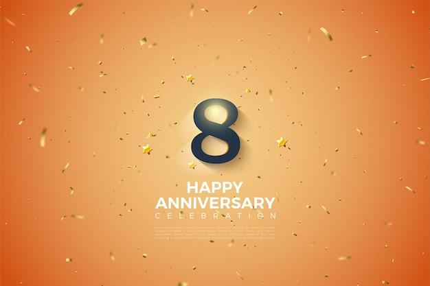 8º aniversário com ilustração dos números 3d sombreados em branco suave.