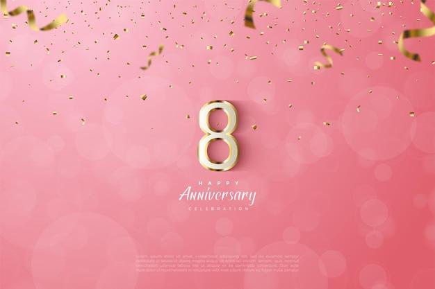 8º aniversário com ilustração luxuosa de algarismos 3d com bordas douradas.