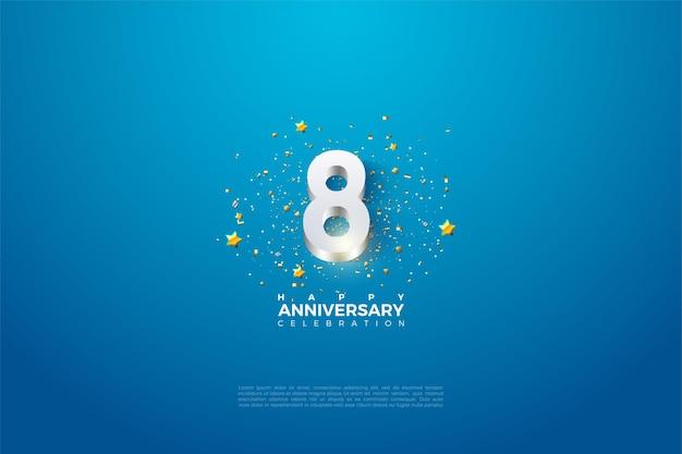 8º aniversário com ilustrações numéricas 3d em relevo em prata brilhante.