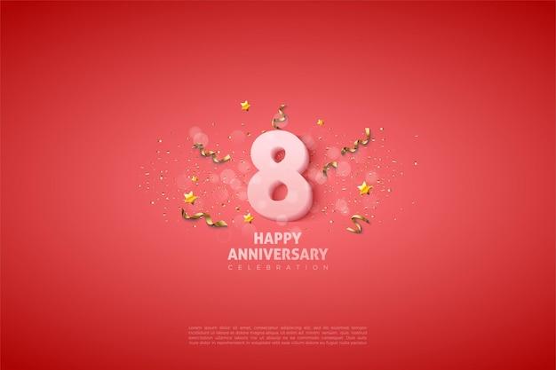 8º aniversário com números 3d brancos suaves.