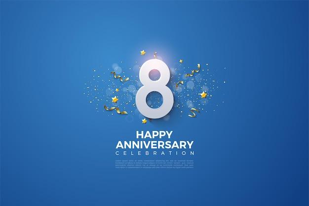 8º aniversário com números 3d e enfeites de festa em fundo azul.