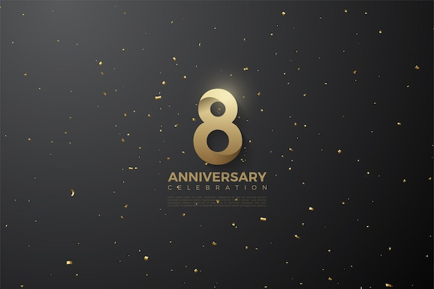 8º aniversário com números 3d padronizados.