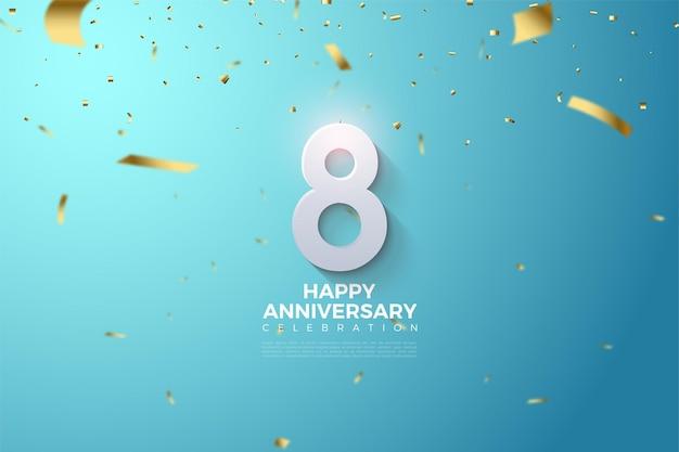 8º aniversário com números 3d sombreados.