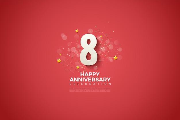 8º aniversário com números 3d suavemente sombreados em um fundo vermelho.
