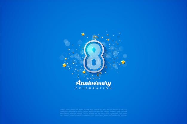 8º aniversário com números contornados em azul e branco.
