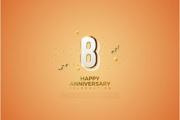 8º aniversário com números de graffiti 3d modernos.