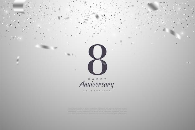 8º aniversário com números de prata e fita.