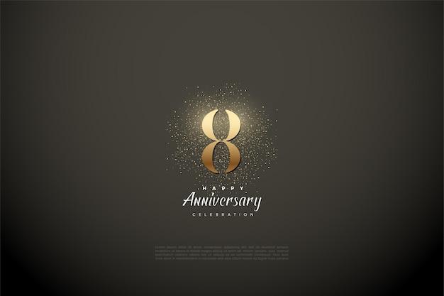 8º aniversário com números dourados e glitter.