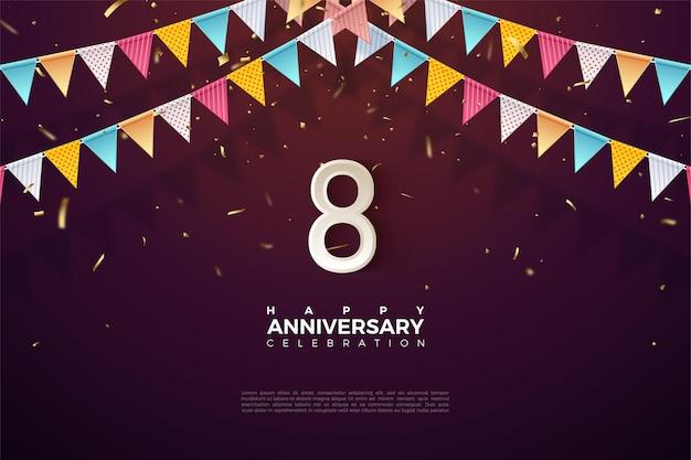 8º aniversário com números e bandeiras 3d multicoloridos.
