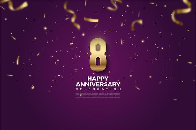 8º aniversário com números e chuva de fita dourada.