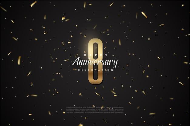 8º aniversário com números e pontos dourados.