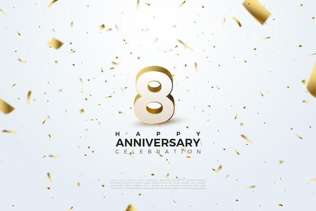 8º aniversário com números espalhados e ilustrações em folha de ouro.