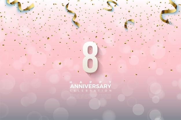 8º aniversário com números regados com fitas de ouro.