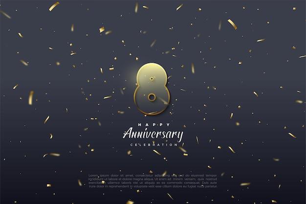 8º aniversário com números transparentes emoldurados.
