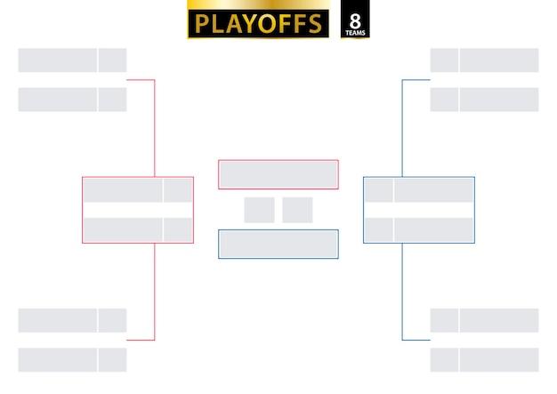 8 chave de eliminação de equipe. suporte de torneio para playoffs em fundo branco. tamanho a2 pronto para impressão. ilustração vetorial.