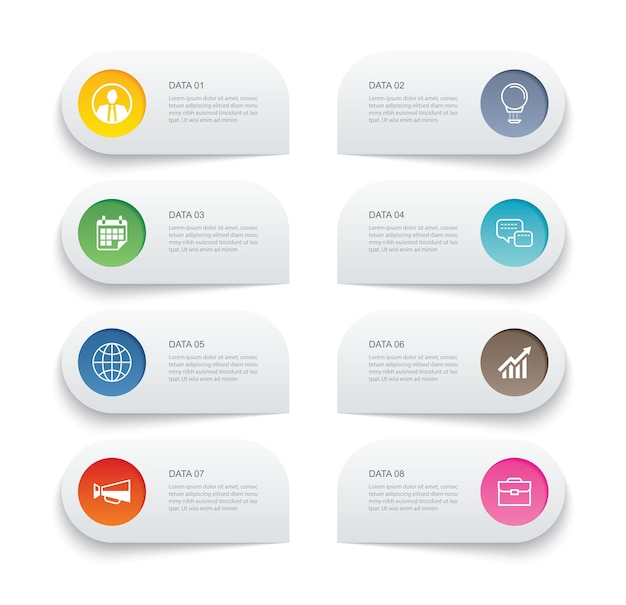 8 dados infográficos guia modelo de índice de linha fina de papel. pode ser usado para layout de fluxo de trabalho, etapa de negócios, banner, design de web.