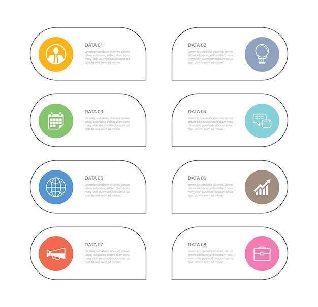 8 dados infográficos guia modelo de índice de linha fina de papel.