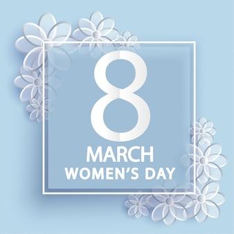 8 de março. cartão de dia das mulheres. origami floral.
