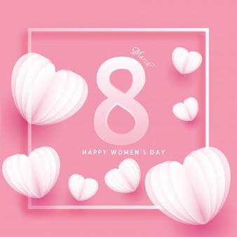 8 de março cartão design decorado com coração de papel origami