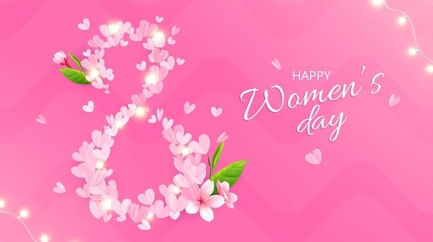 8 de março, composição do dia da mulher com fundo rosa, texto ornamentado e dígitos feitos de pétalas de rosa.