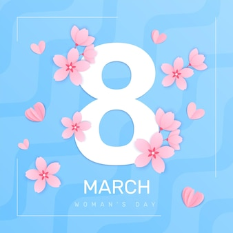8 de março, composição quadrada do dia da mulher com quadro de fundo abstrato e dígito grande com ilustração de pétalas de flores