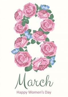 8 de março de cartão de férias.